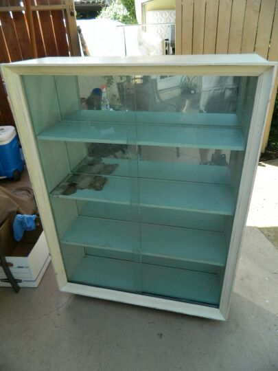 Display Curio Cabinet Bookshelf Glass Doors Wheels Mirror Back
