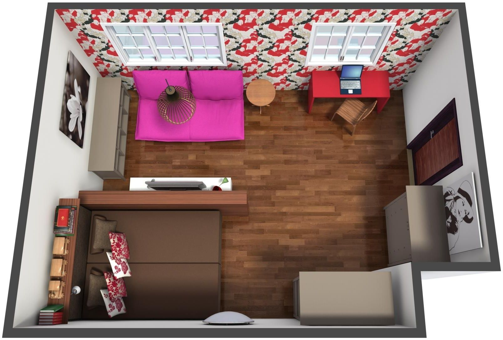 Aerial View Of A Floor Plan For Cozy Colorful Studio Apartment With Decor From Ikea Usa Laura Ashley Official Samsung Tv