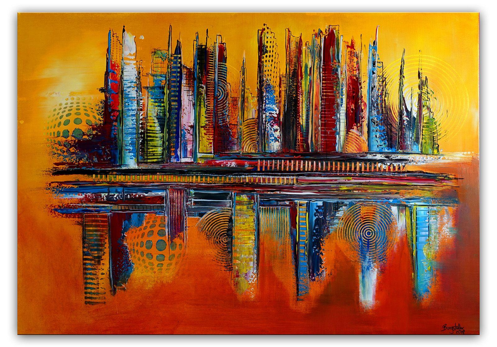 leinwandbild abstrakt gelb rot acrylgemalde handgemalt leinwandbilder abstraktes gemalde acrylmalerei klassische moderne bilder acrylbilder modern art
