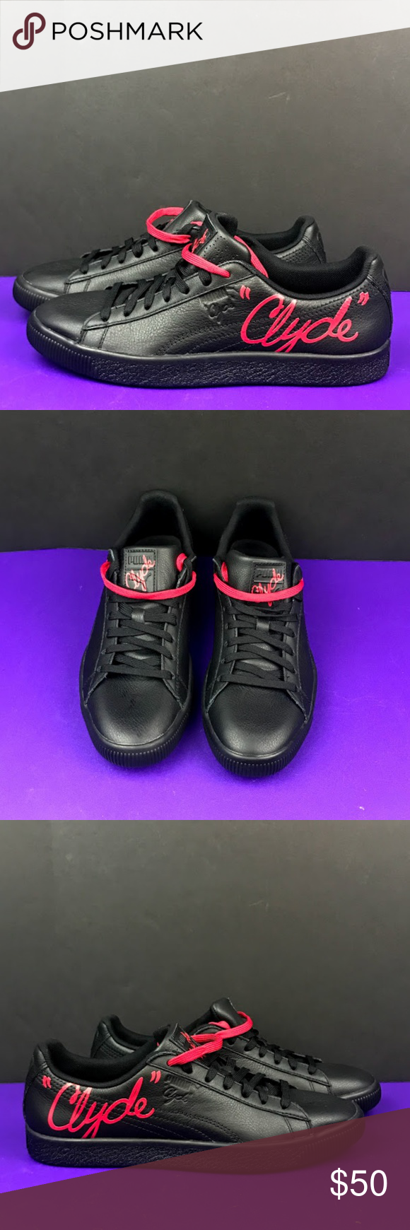 f03c9cac7d1 Puma CLYDE SIGNATURE Black Red Casual Shoes 8.5 Puma CLYDE SIGNATURE Black  Red - 366207-