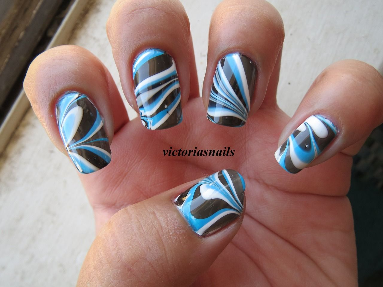 Blue, Black & White Water Marbled Nails by Victoria's Nails - Blue, Black & White Water Marbled Nails By Victoria's Nails Nails