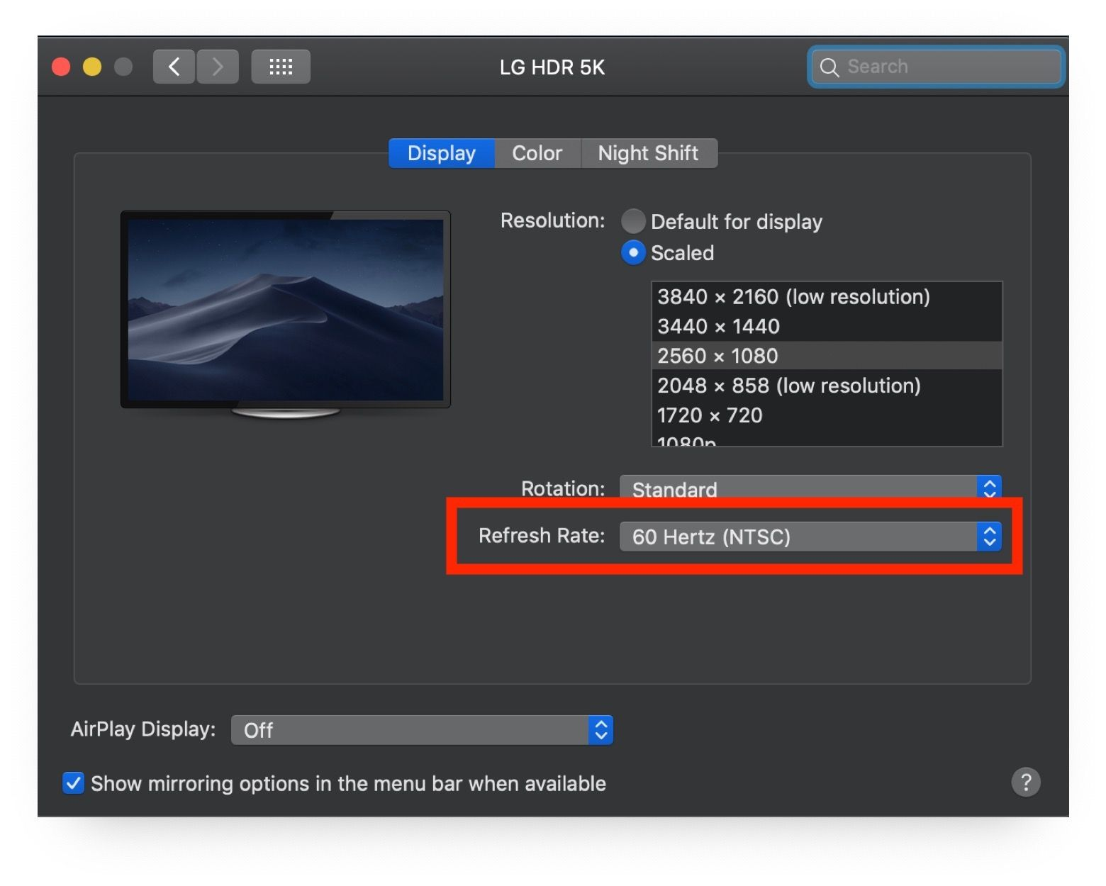 How To Change Refresh Rate On Mac Displays Refresh Rate Display Resolution Refreshing