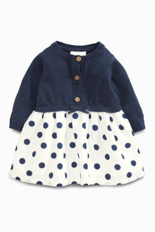 4451132e227 Acheter Robe à pois bleu marine en tricot (0 mois - 2 ans) disponible en  ligne dès aujourd hui sur Next   France