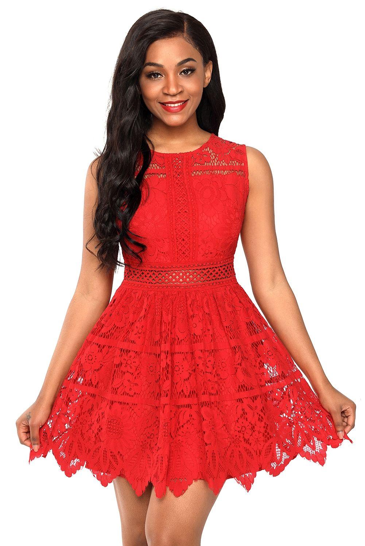 Sukienka Koronkowa Rozkloszowana Czerwona Mini Women Lace Dress Dresses Lace Dress