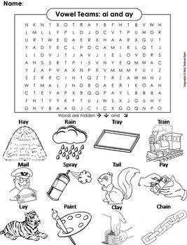 ai ay Vowel Team: Phonics Worksheet: Digraphs Word Search ...