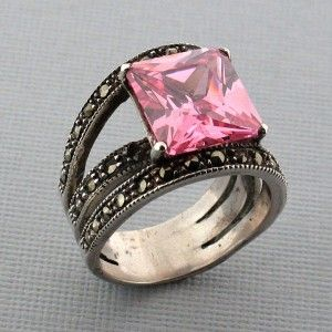 Pink CZ Square Shaped Marcasite Sterling Silver Ring - Purple Leopard Boutique