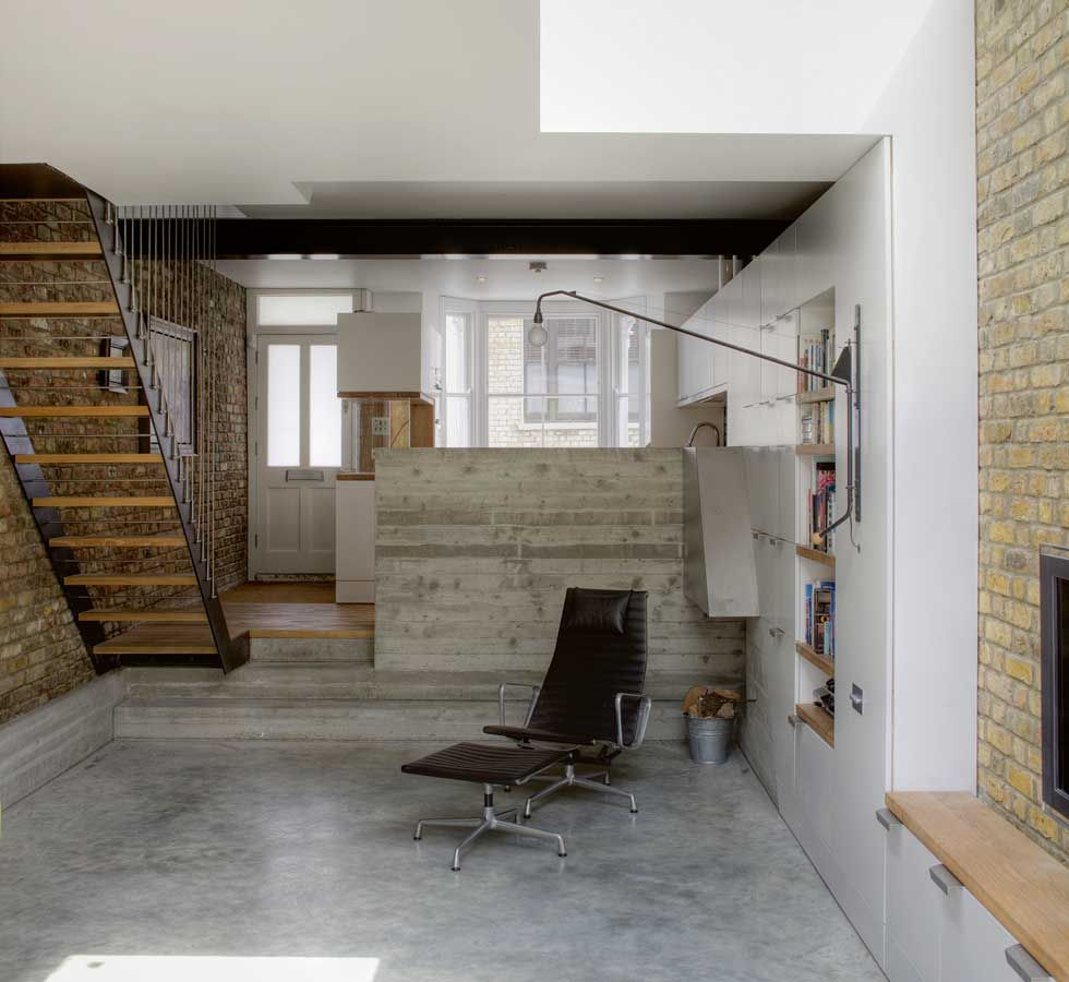 The converted basement with polished concrete floors for Terrace flooring