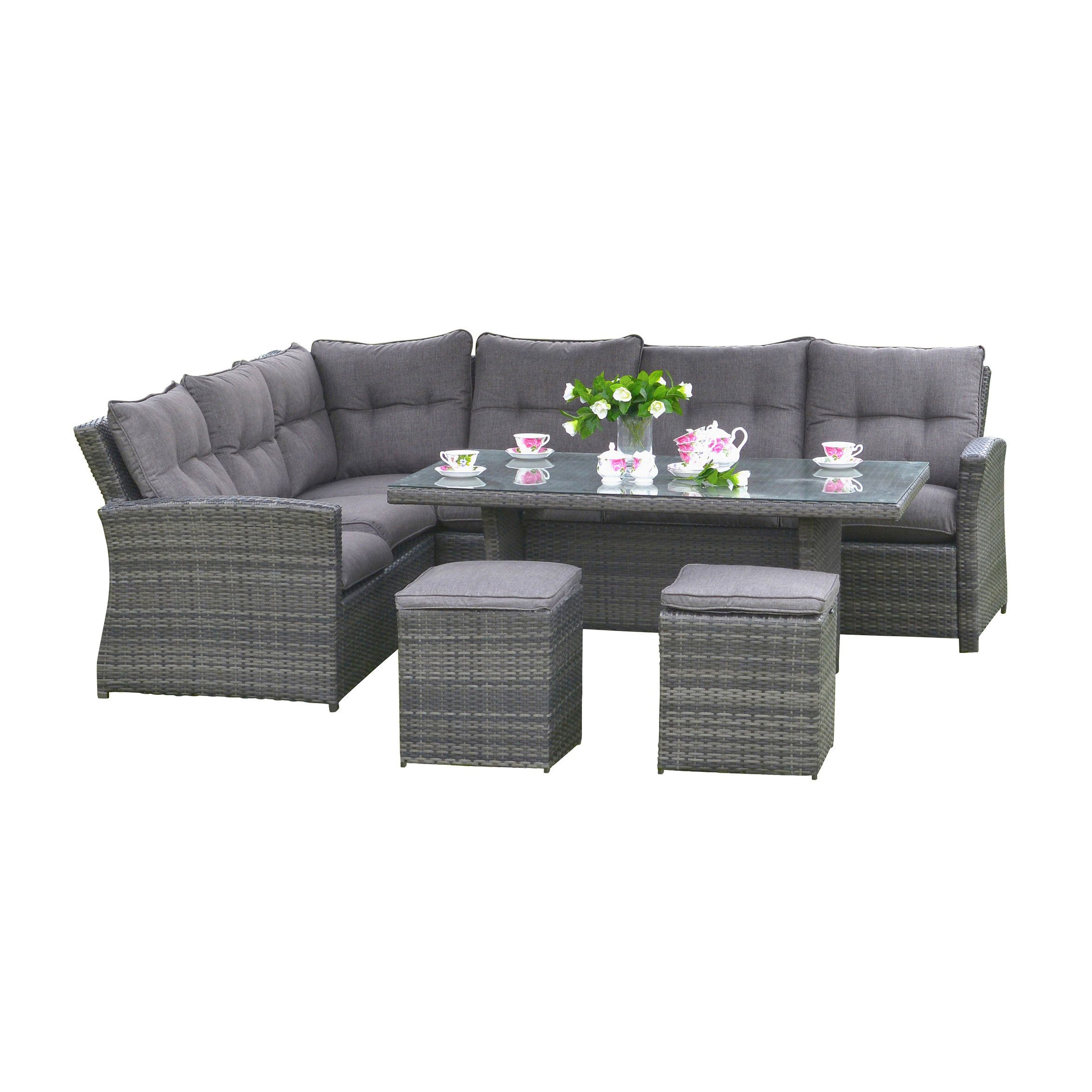 Lima Bedroom Furniture Lima Outdoor Wicker Rattan Dinning Set Grey Size 6 Piece Sets