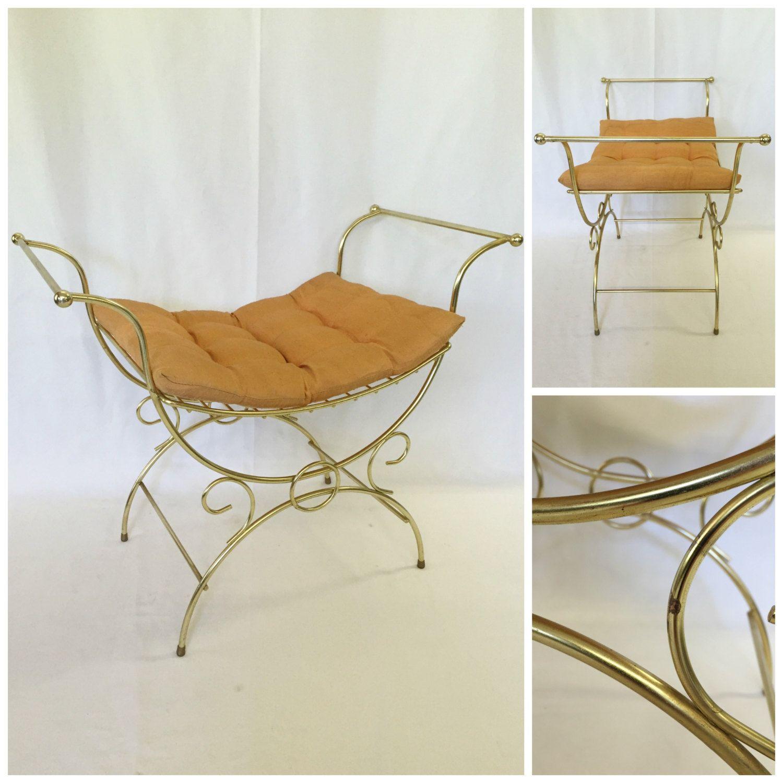Vintage Regency Vanity Chair Gold Mid Century Vanity Chair Hollywood  Regency Metal Vanity Bench Retro Mid
