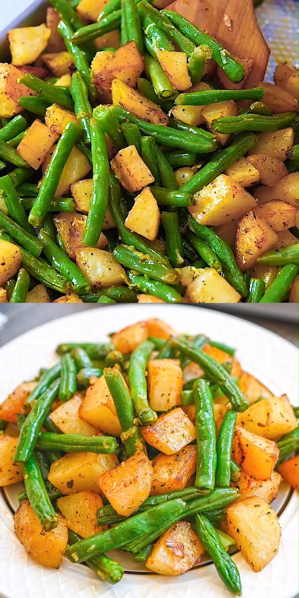 Gebratene grüne Bohnen und Kartoffeln #kartoffeln #vegetarisch #vegetarischkartoffeln #weeknightdinners