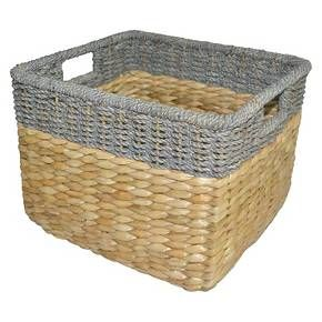 11 X14 5 Seagrass Rectangular Wicker Storage Basket With Gray Trim Threshold Storage Baskets Wicker Baskets Storage Cube Storage Baskets