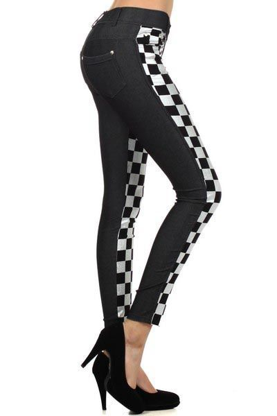 Black / 68% Cotton, 27% Polyester 5% Spandex / Metallic Silver & Black Checker Pattern / 5 Pockets & Belt Loops / Medium To Large / Jeggings