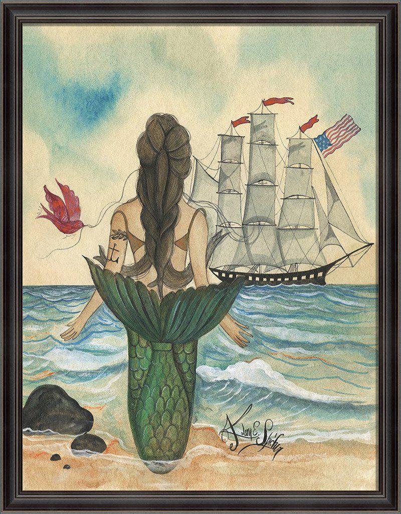 Photo of Mermaid with Tattoo Framed Print   Island Decor   Wall Art – Back / 44.375 x 54.375