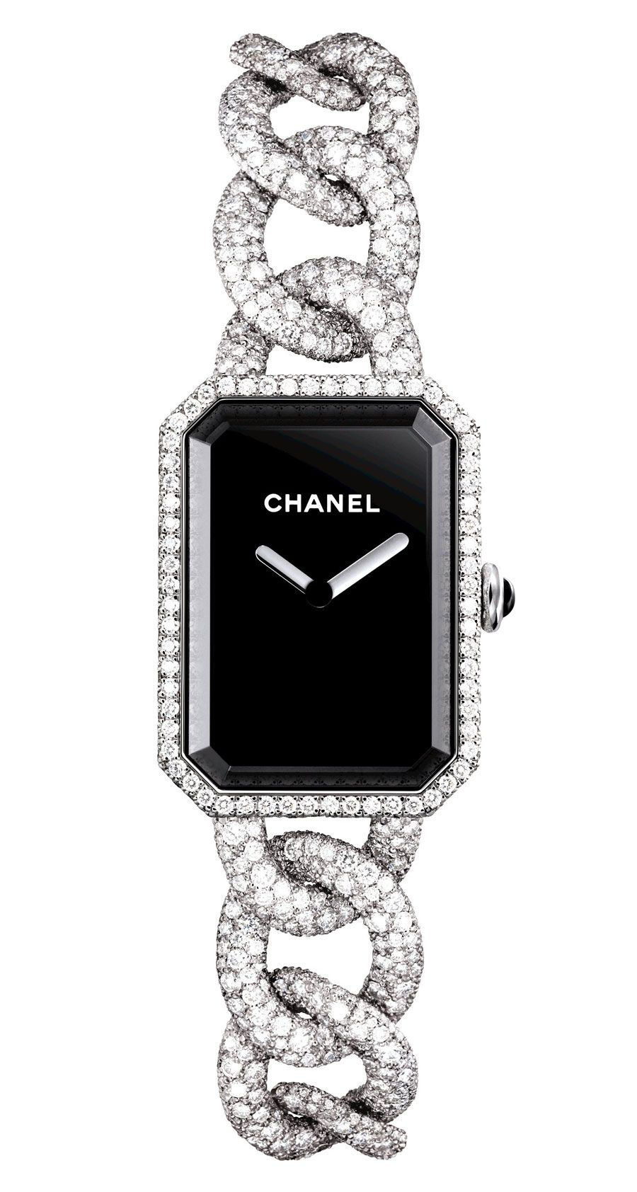 diamond watches quartz white chanel dial black watch ladies