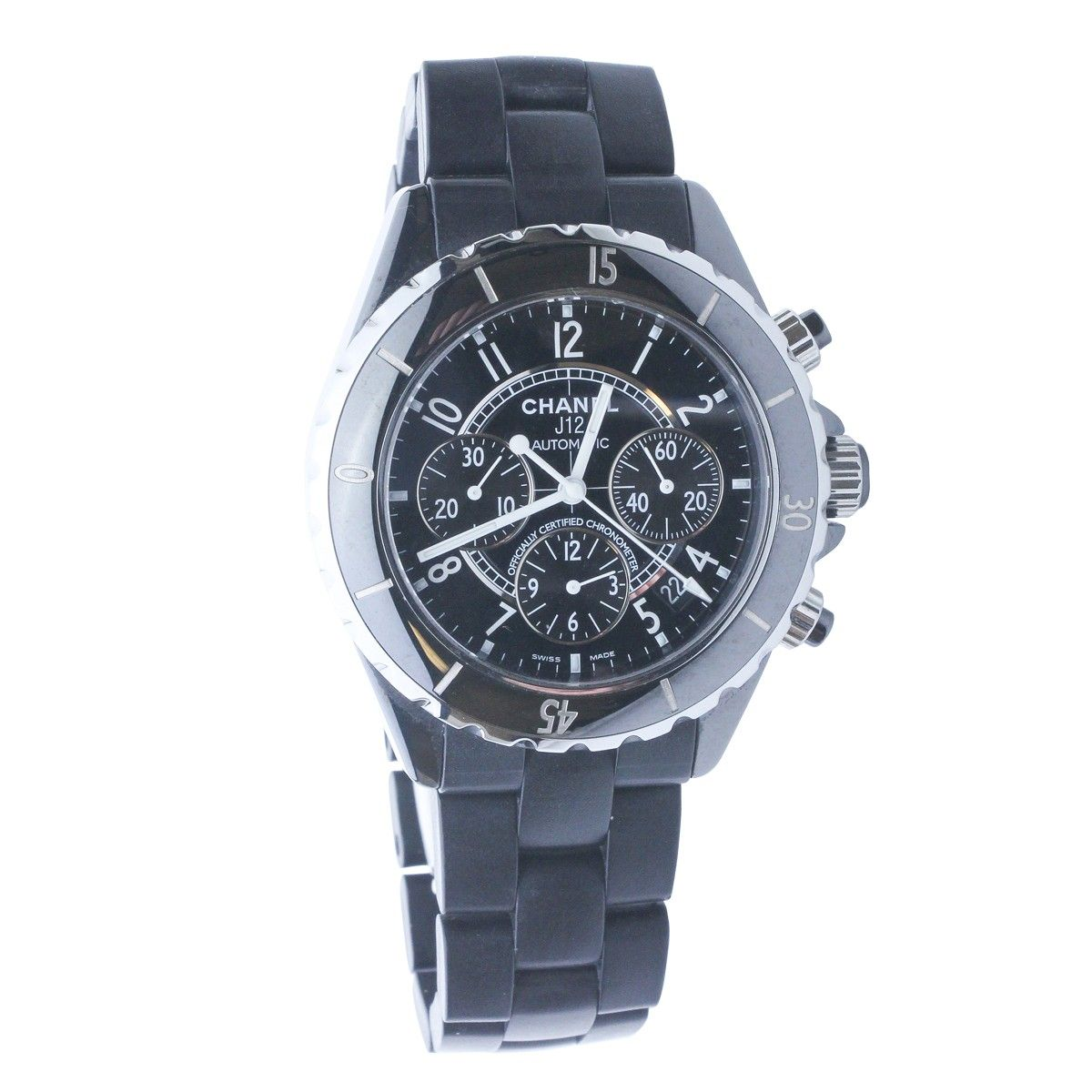 chanel j12 chronograph ceramic automatic mens watch pre owned chanel j12 chronograph ceramic automatic mens watch