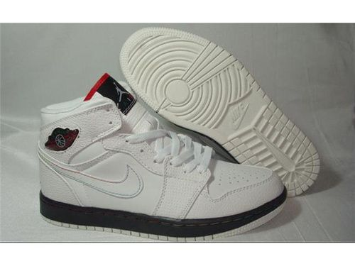 Nike Air Jordan 1 Shoes White Black Red On Sale