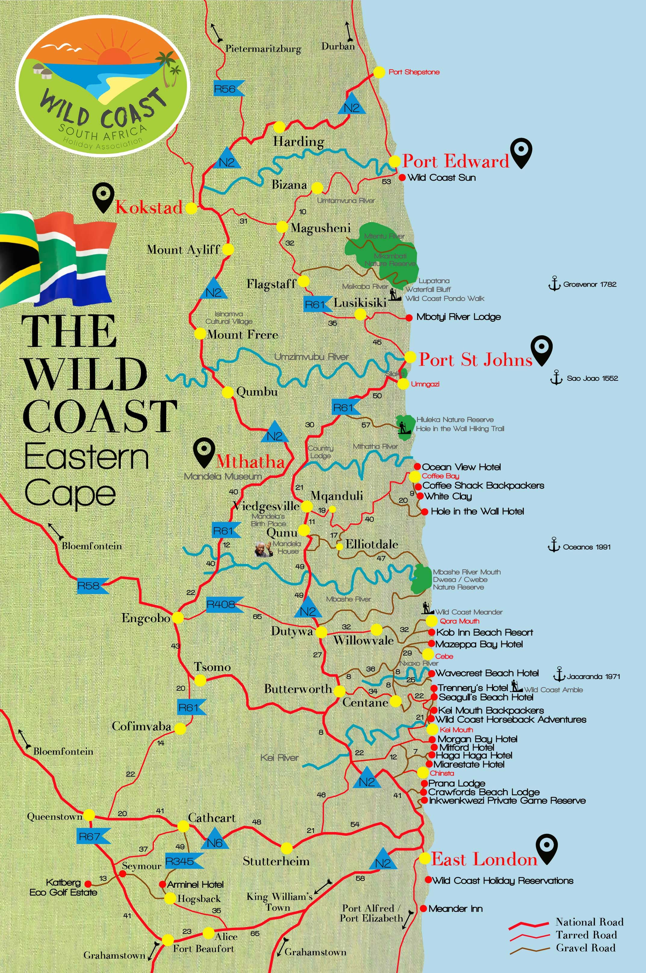 Wild Coast South Africa Map | Wild Coast South Africa | South
