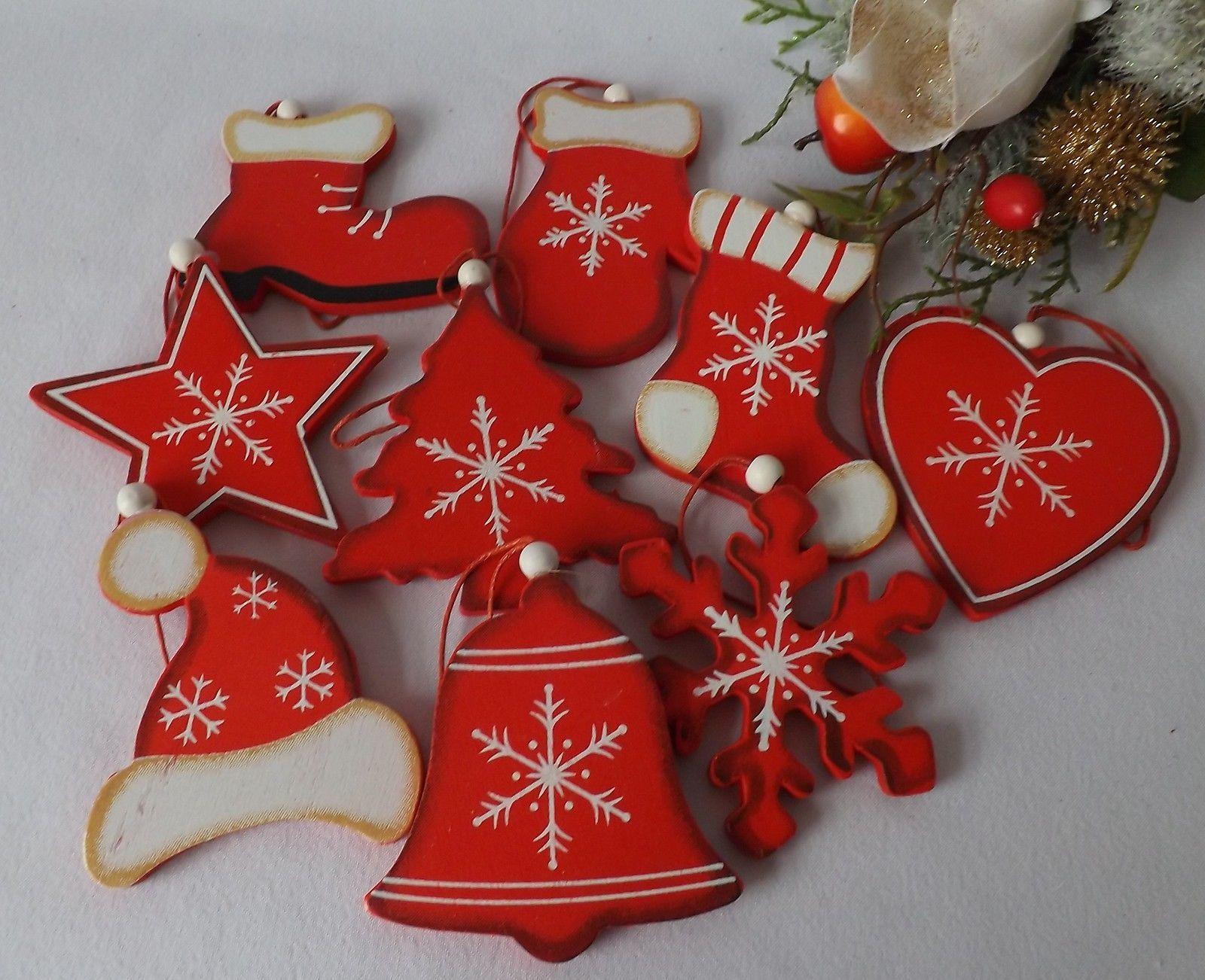 Juego 9 madera rojo blanco shabby adornos para rbol de navidad calcet n ebay decoraci n - Adornos navidenos de madera ...
