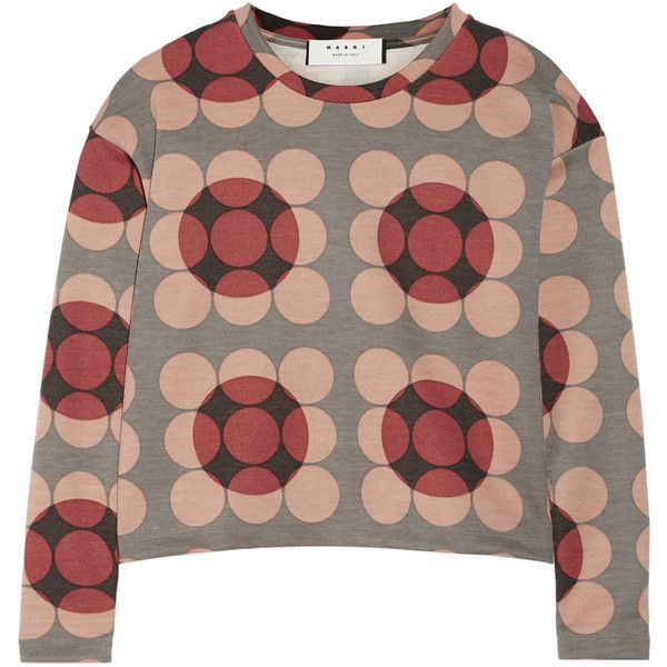 Marni Printed stretch-wool top ($296) ❤ liked on Polyvore featuring tops, marni, red, multi color tops, stretchy tops, stretch top and red top