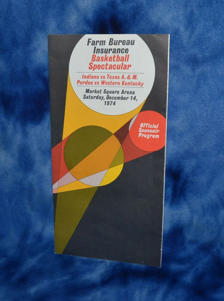 1974 Farm Bureau Insurance Basketball Brochure Indiana Purdue