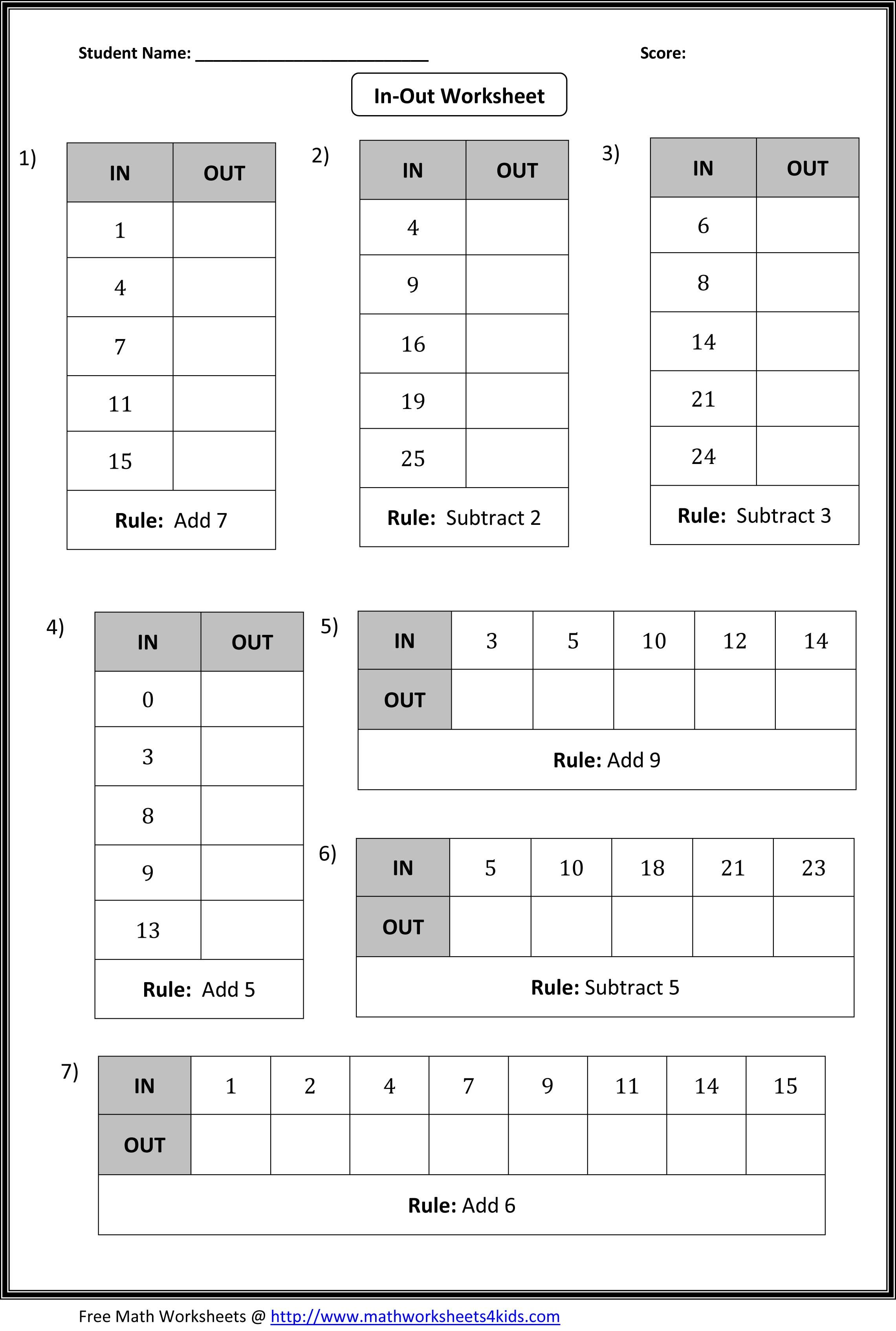Free Worksheet Input Output Worksheets function table worksheets in and out boxes include two columns input output followed by a rule fill the missing entries or identify rule