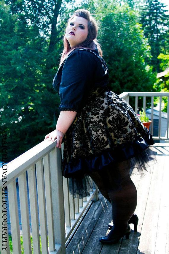 Plus Size Steampunk Dress Lolita Jumper Gold Black Velvet Flock 3x
