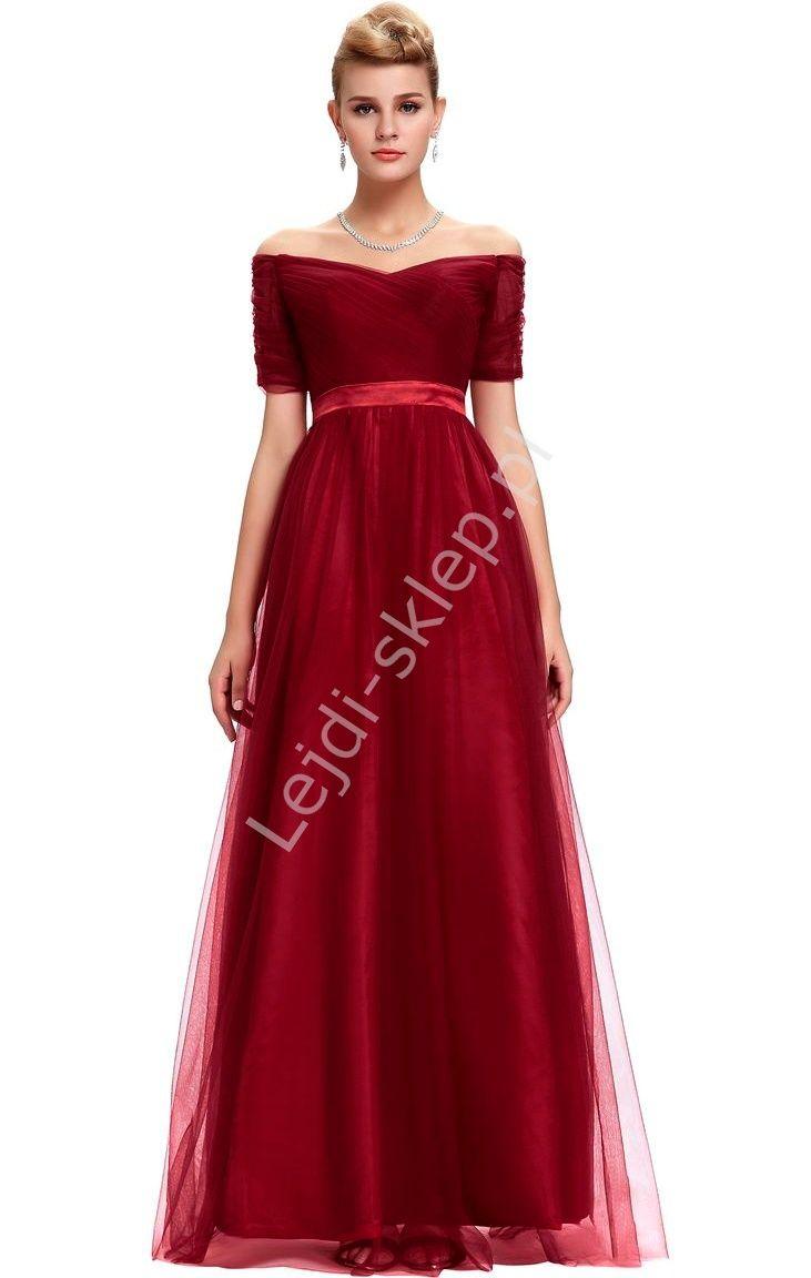 f8e78056e7 Tiulowa Długa Sukienka Ciemne Wino Dekolt Carmen Tiulowe Długie