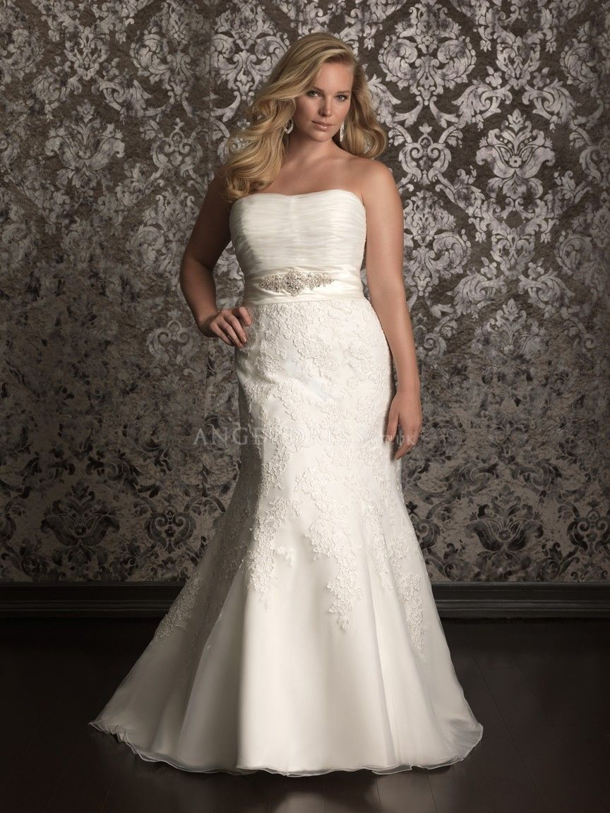 Long sleeve maternity wedding dresses  Timeless A line Chapel Train Organza u Lace Strapless Plus Size