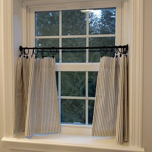 Beautiful Ticking Striped Cafe Curtain For Your Kitchen Etsy Farmhouse Kitchen Curtains Cafe Curtains Bathroom Window Curtains
