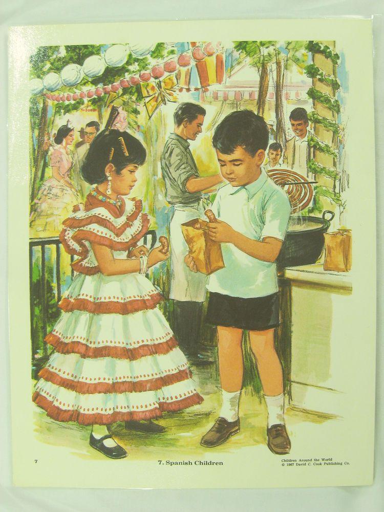 Vintage Art Print Poster Spanish Children Spain Street Festival Scene Churros #Vintage