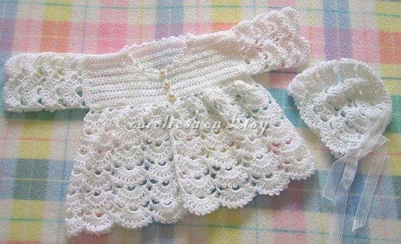 Baby CROCHET PATTERN - Scallop Matinee Jacket and Bonnet - 16 - 20 ...