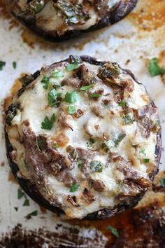 Philly Cheesesteak Stuffed Portobello Mushrooms