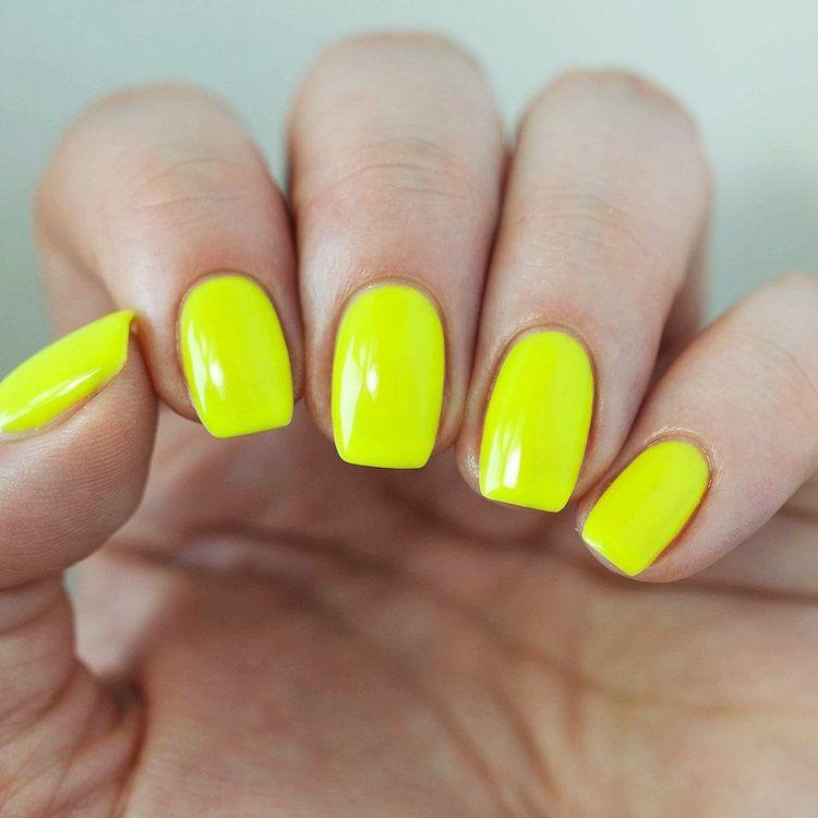 déco ongle gel vernis jaune fluo nail decoration