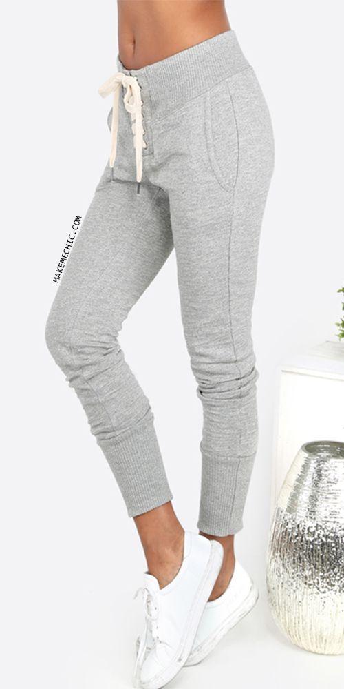 pantalon de chandal con encaje gris Sweatpants Outfit Lazy 6e51c5baa247
