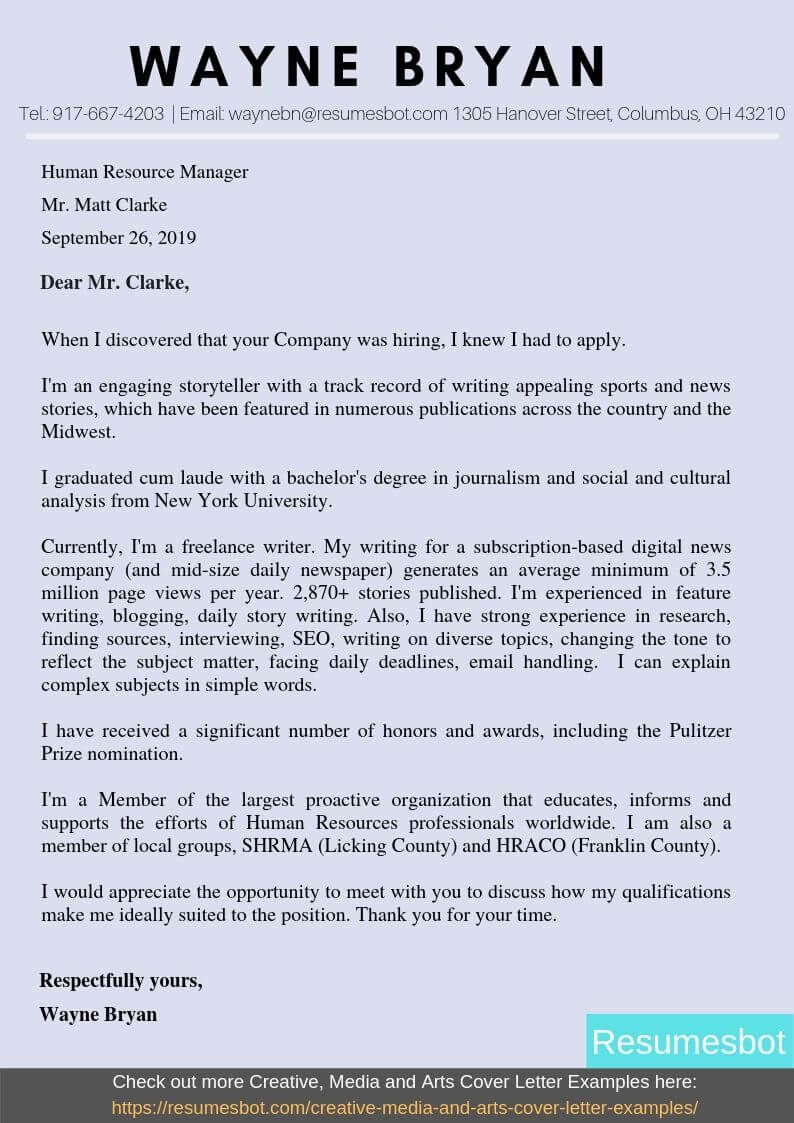 News Reporter Cover Letter Samples & Templates [PDF+Word