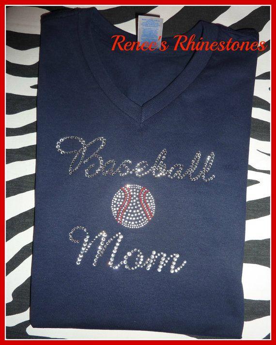 Baseball MOM T Shirt Rhinestone Baseball Mom by TeamSparkle, $24.99