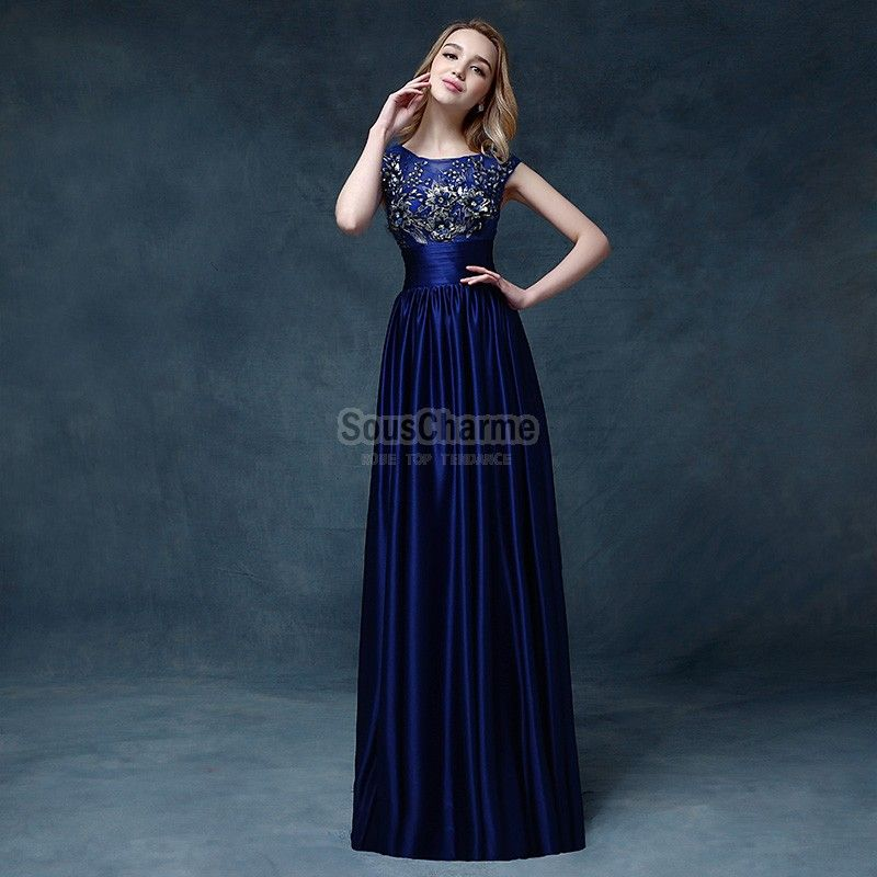 robe de soiree originale longue en satin bleu royal With robe longue originale