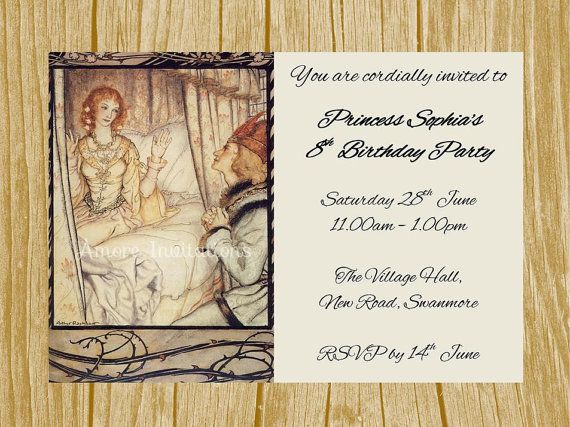 Digital Printable Sleeping Beauty   Princess Birthday Party - microsoft birthday invitation templates