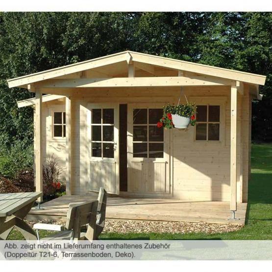 Gartenhaus mit großer Terrasse und Vordach Remo3 / 6m2