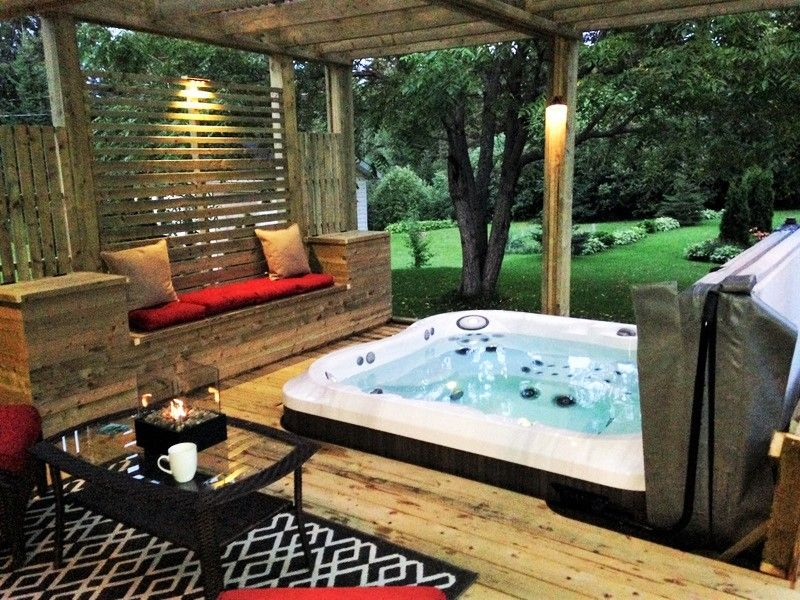 Resultat De Recherche D Images Pour Amenagement Paysager Spa Exterieur Jacuzzi Hot Tub Hot Tub Backyard Hot Tub Landscaping