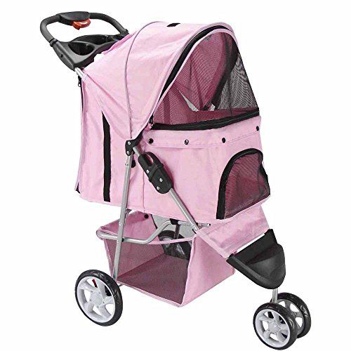 3 Wheel Pet Stroller Cat Dog Walk Jogger Travel Folding Carrier PINKNewpng by WW shop -- More info could be found at the image url.