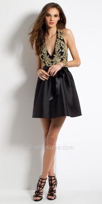 baebd5880f1 Gold Applique Halter Homecoming Dress By Camille La Vie  edressme ...