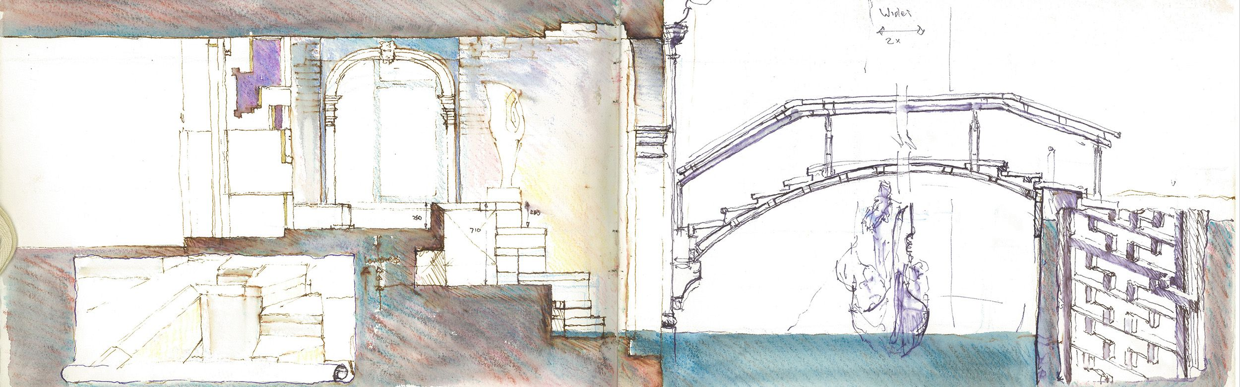 Sketch section through canal entrance of Querini Stampalia by Carlo Scarpa fc2e1a89265