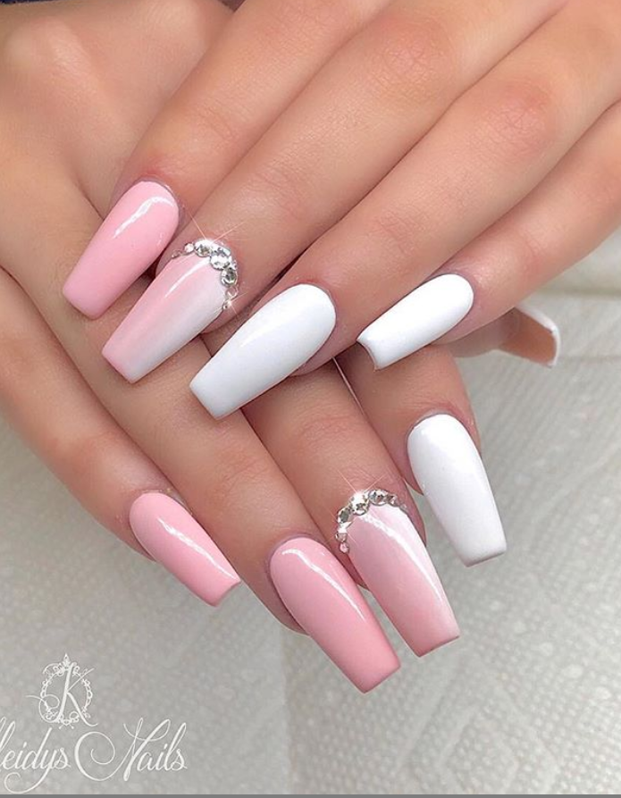 Light pink gel coffin nails design, Acrylic Coffin nails