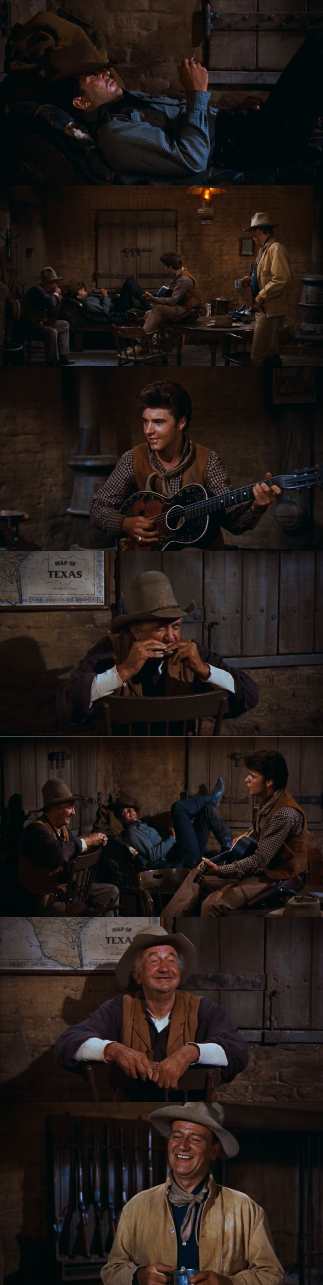 """A great musical moment in a non-musical. Dean Martin and Ricky Nelson singing """"My Rifle, My Pony, and Me"""" and """"Come Along Home, Cindy"""" with the company of Walter Brennan's harmonica and voice. The only one in the group not singing is John Wayne. Rio Bravo 1959"""