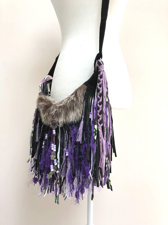 Purple Boho Fringe Purse Boho Crossbody Shoulder Bag Fringe Etsy Fringe Purse Fringe Bags Boho Purses