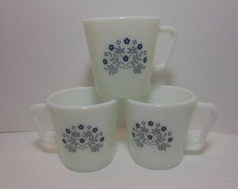 Vintage Pyrex Summer Impression Blueberry Coffee Cups Mugs