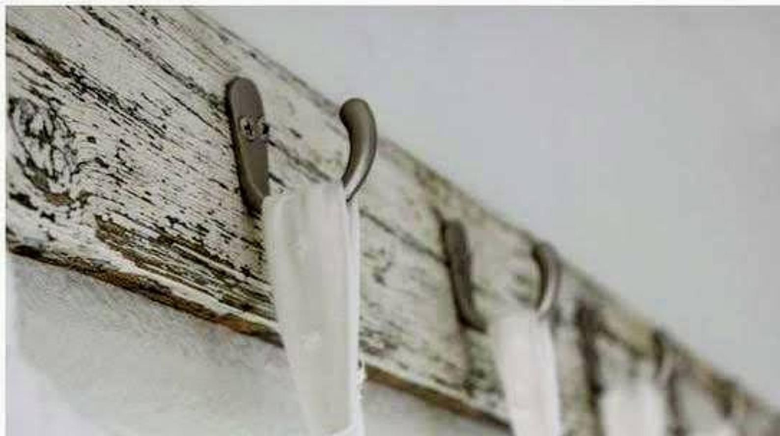 Crackle Chipped Finish On Wood Curtain Hooks Hang Tab Top Curtain