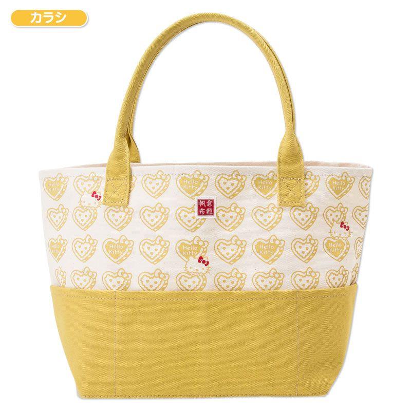 Hello Kitty 40th Kurashiki Hanpu Canvas Tote Bag Mustard Yellow Made in JAPAN