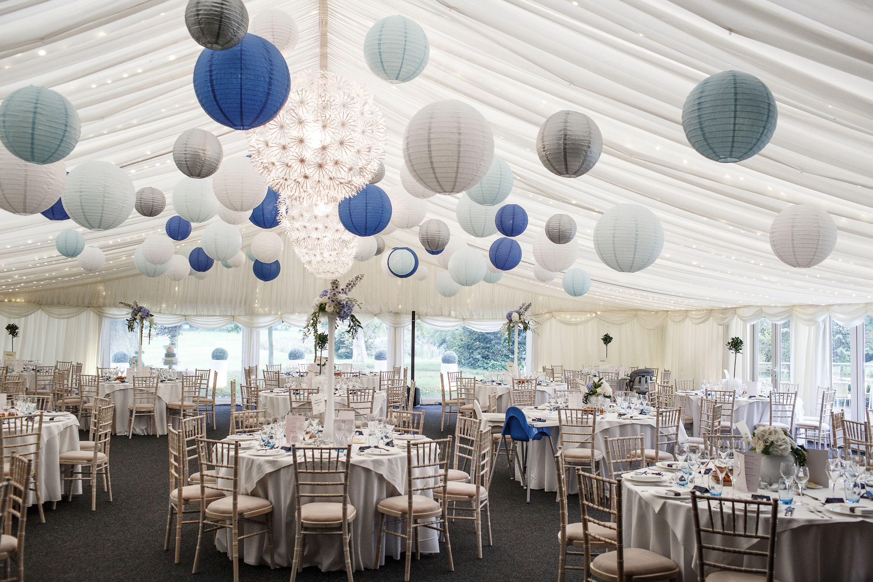 Blue, Ice, White and Silver paper lanterns make this frosty scene ...